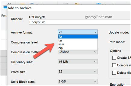 Selecting a 7-zip archive file type