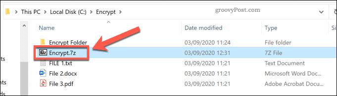A 7z file in Windows File Explorer