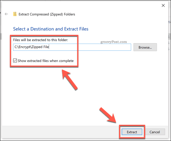The extraction options for a Windows zip file