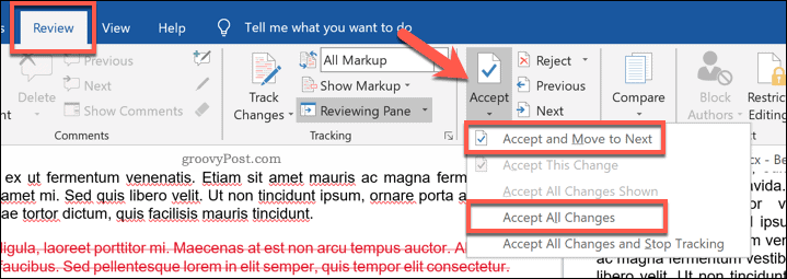 Accepting changes to a compared Word document