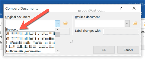 Selecting documents to compare in Microsoft Word