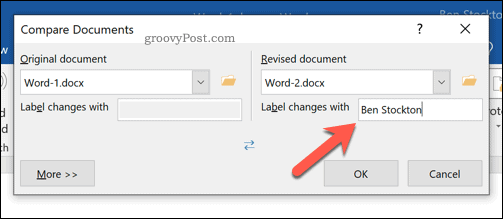 Setting the label for revised changes in the Word document comparison tool