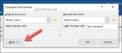 Additional options to compare Microsoft Word documents