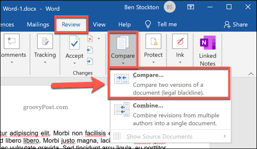 Comparing two Microsoft Word documents