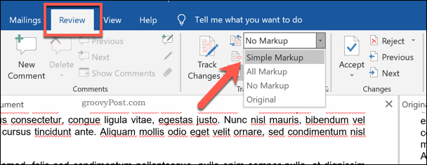 Switching document view in Word's document comparison overview