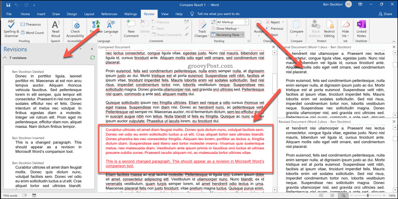 The Word document comparison overview