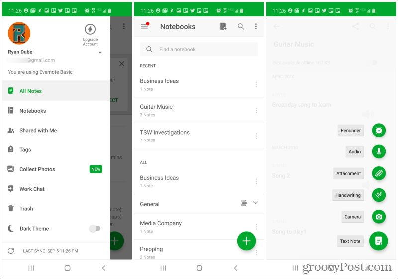 screenshots of evernote
