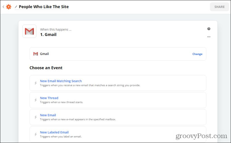 gmail events in zapier
