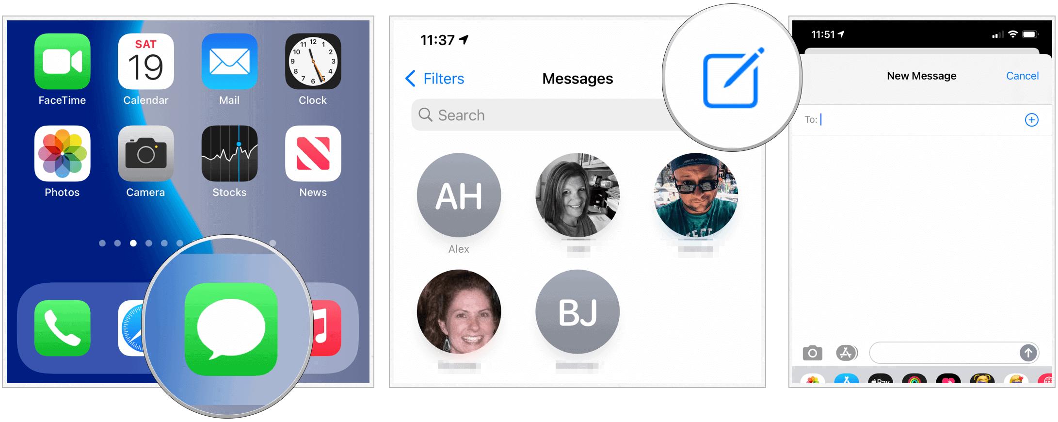 iOS 14 create group message