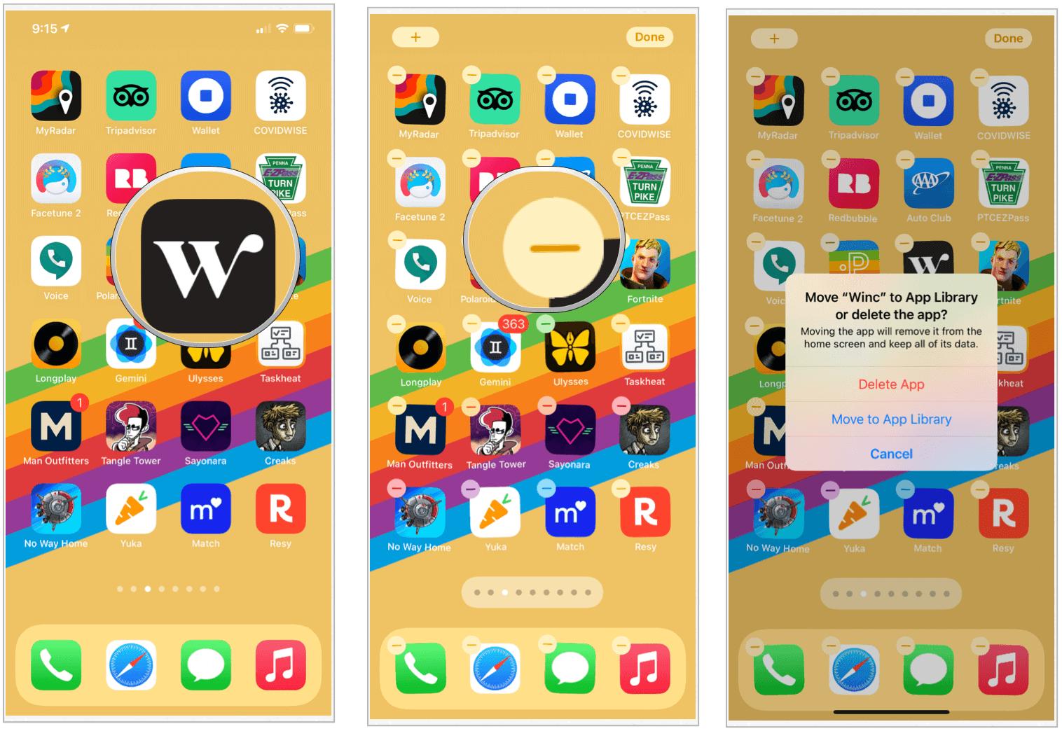 iOS 14 delete app choices