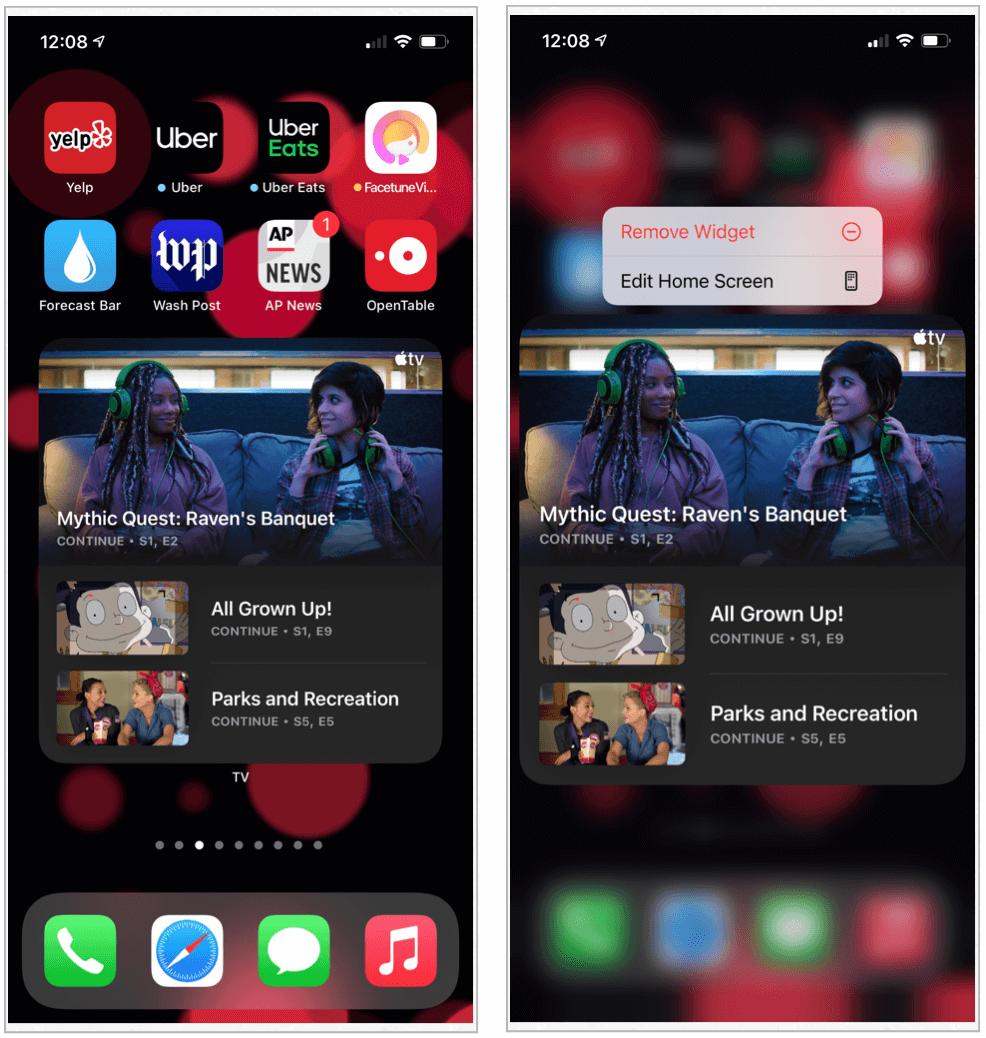 iOS 14 edit widgets