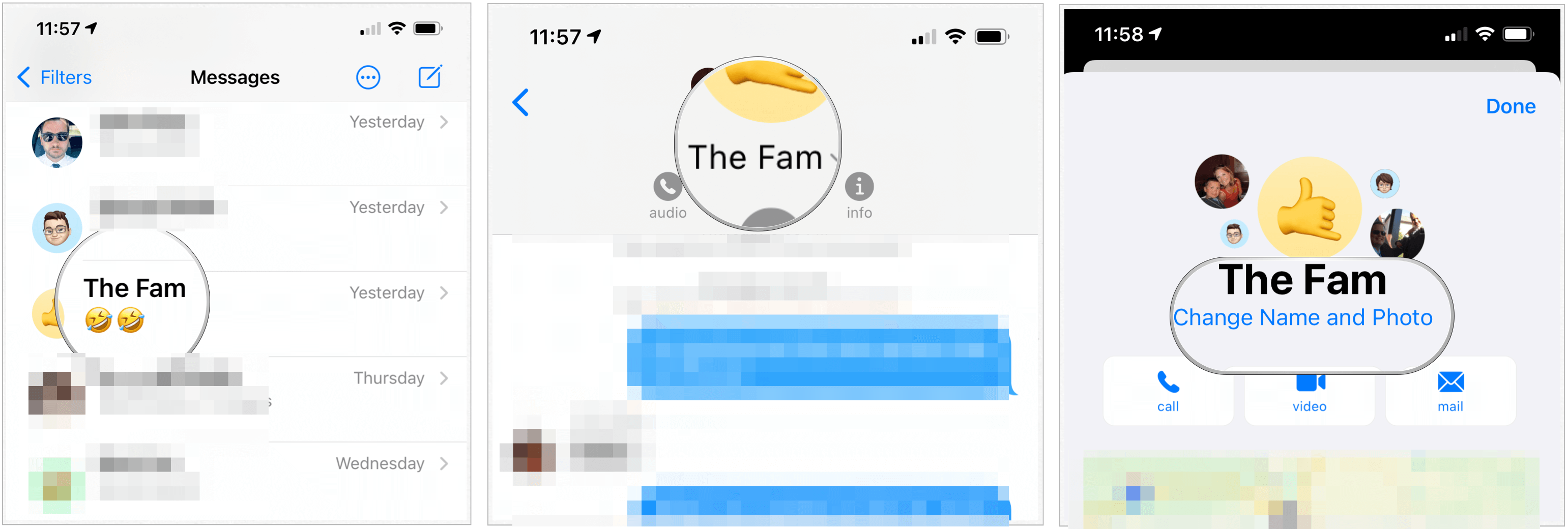 iOS 14 messages group