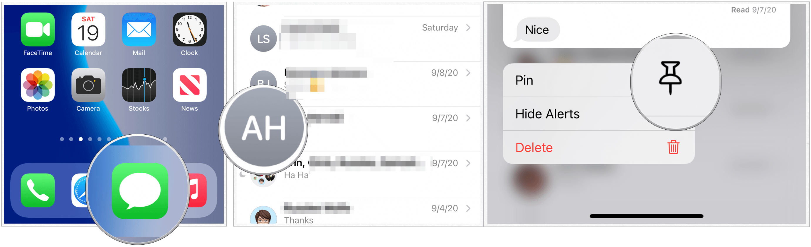 iOS 14 pin messages