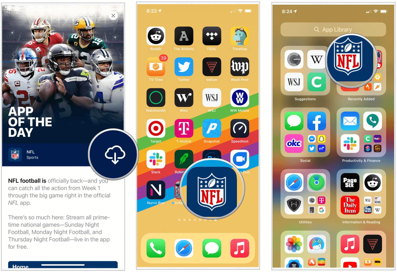 iOS 14 Home screen, App Library