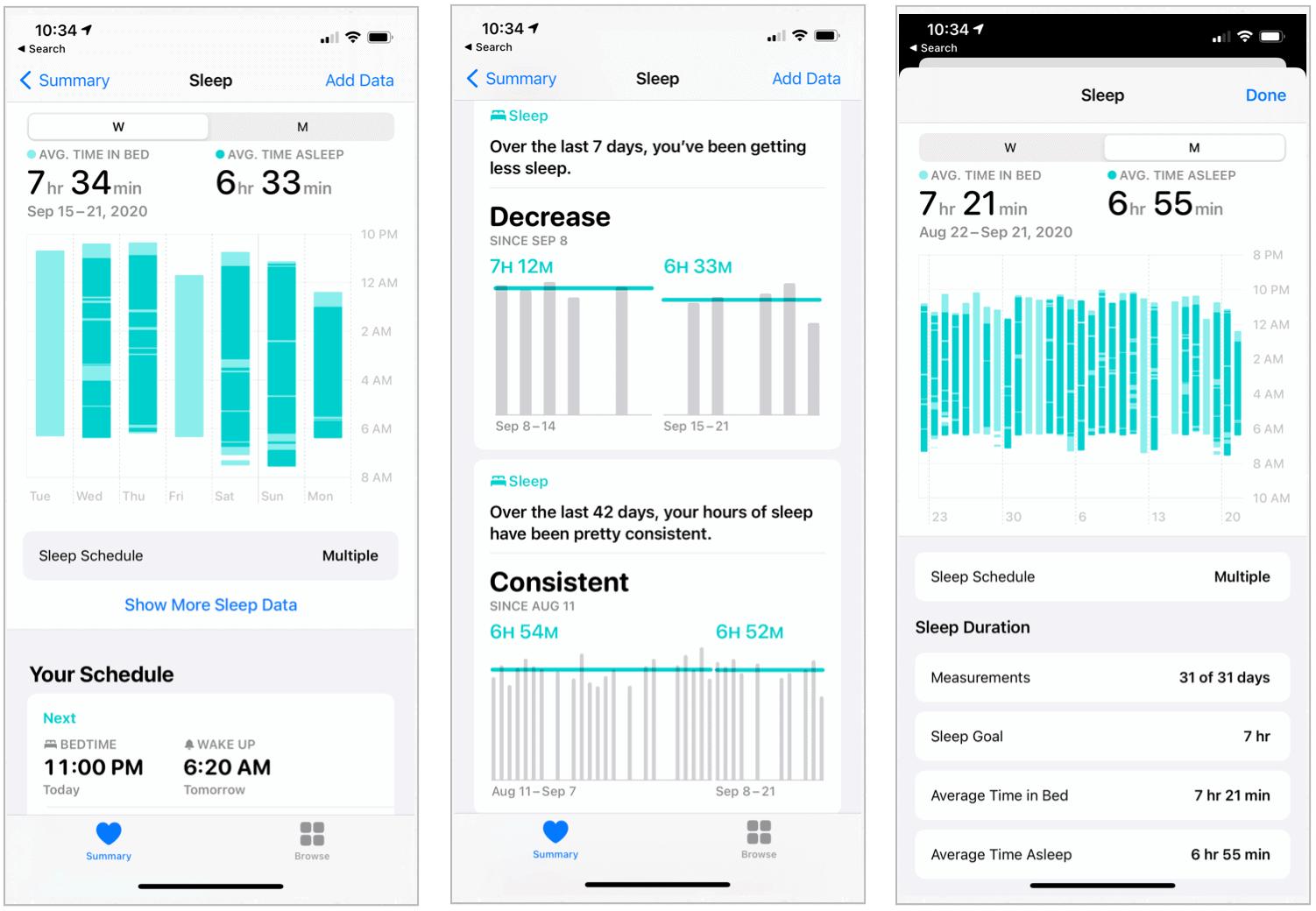 iPhone sleep information