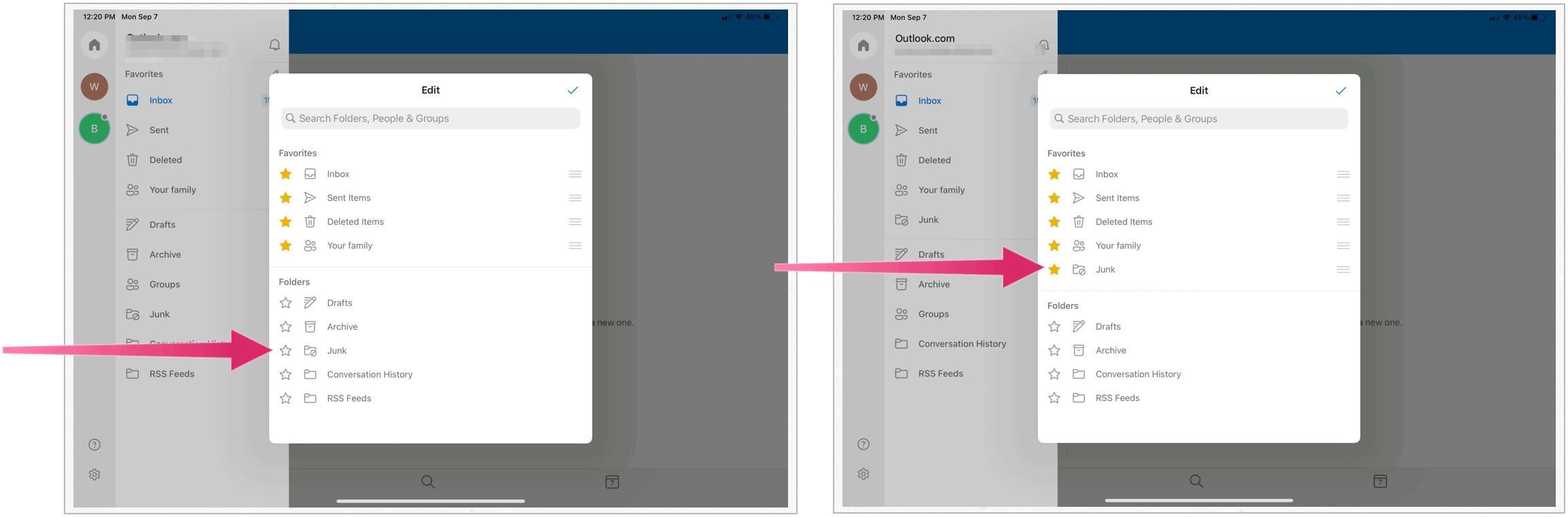 Microsoft Outlook on iPad, favorite folders