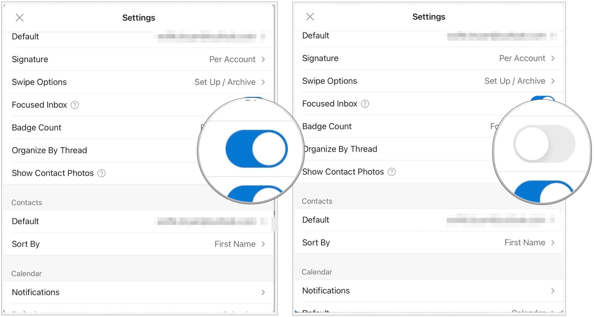 Microsoft Outlook on iPad organization