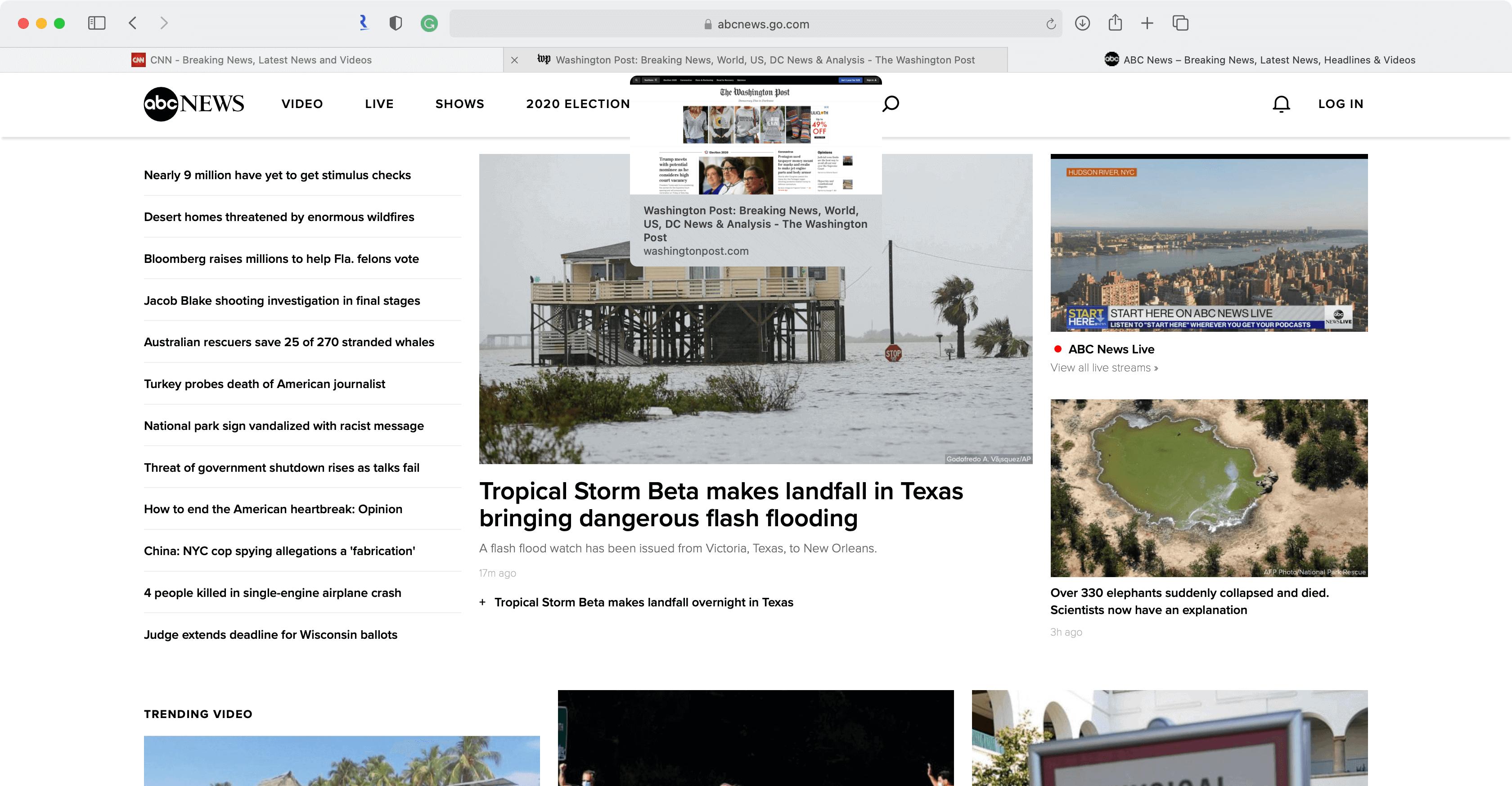 Safari webpage preview