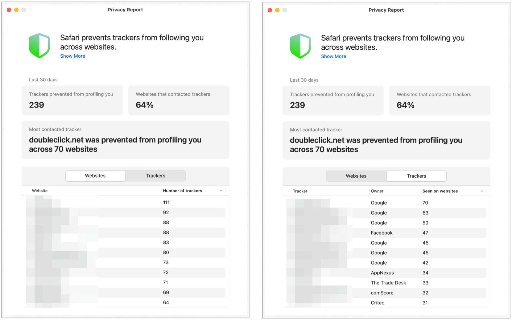 Safari privacy report