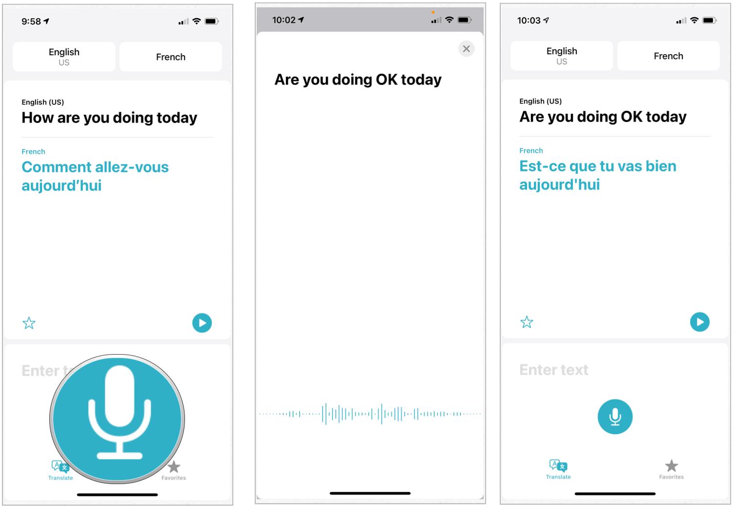 Translation app conversation