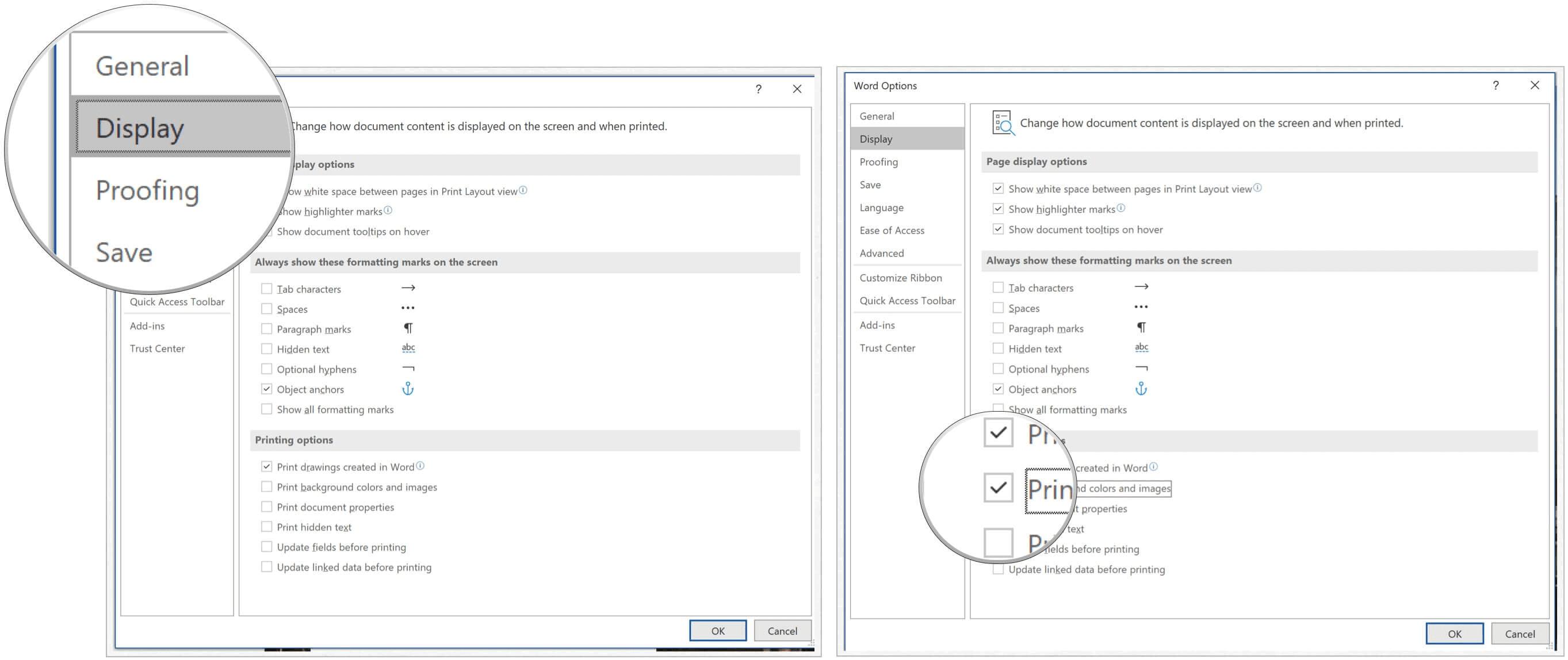 Microsoft Word print background