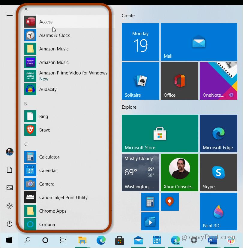 apps list start menu windows 10