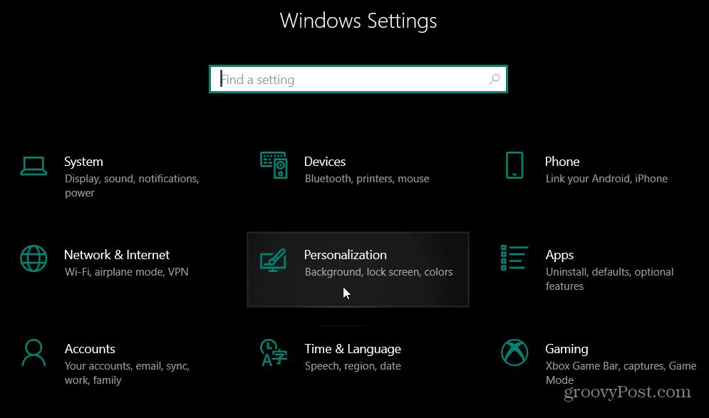 settings personalization