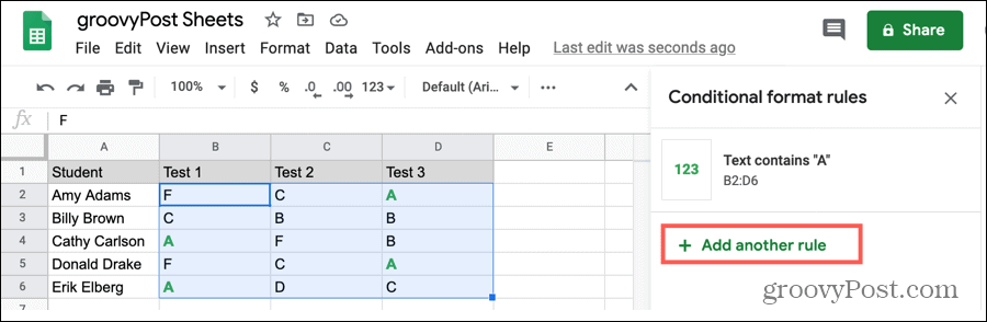 Add Another Rule to Different Cells in Google Sheets