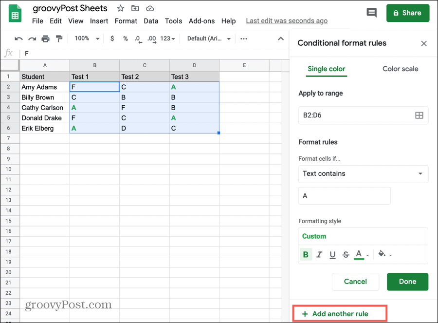 Add Another Rule to the Same Cells in Google Sheets
