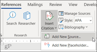 Add a New Source in Word