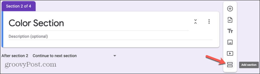Add Section in Google Forms