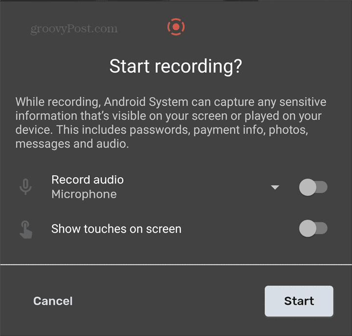 Android Screen Recorder start