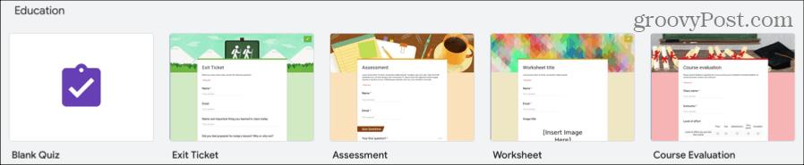 Blank Quiz on Google Forms