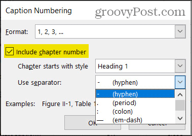 Caption Numbering Chapter in Word