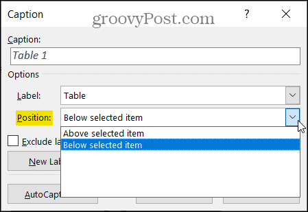 Caption Position in Word