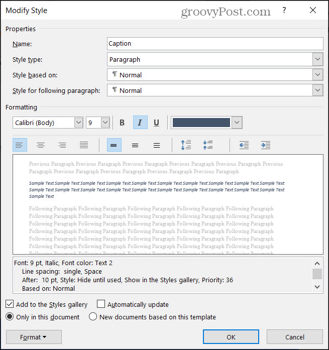 Change Style for Captions in Word