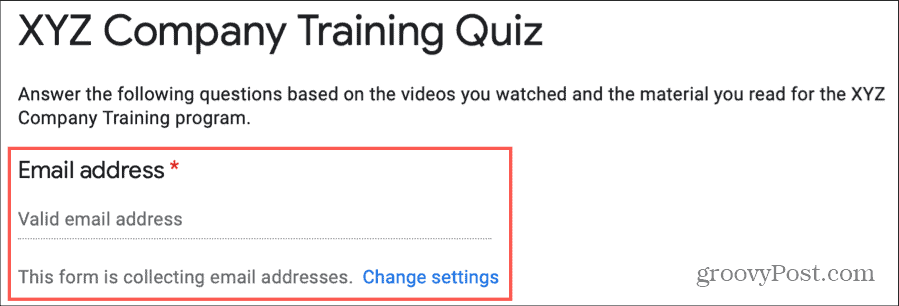 Collect Emails Quiz on Google Forms