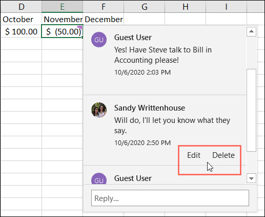 Edit or Delete a Comment Reply in Excel