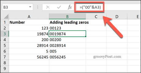 Adding a set number of leading zeros to Excel cells