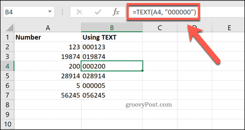 Using TEXT in Excel to add leading zeros