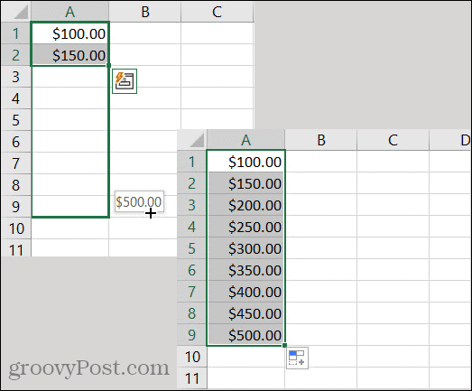 Excel AutoFill Currency Pattern