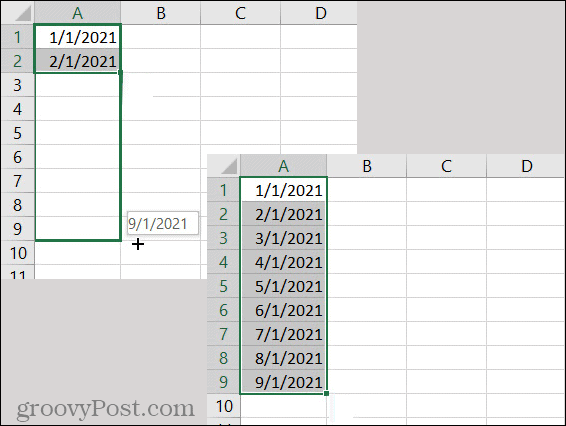 Excel AutoFill Date Pattern