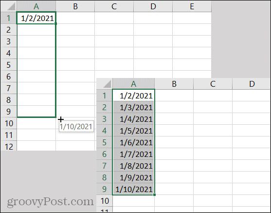 Excel AutoFill Dates