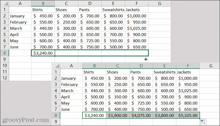 Excel AutoFill Formula