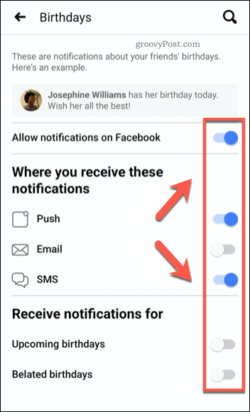 Facebook mobile birthday notification sliders
