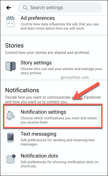 Facebook mobile notification settings option