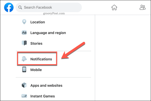 Facebook Notification Settings Option