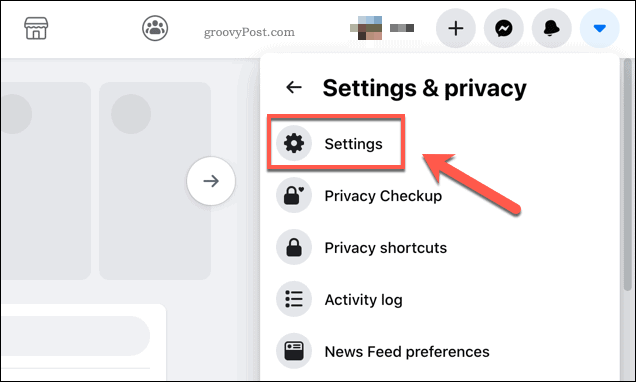 Facebook additional settings option