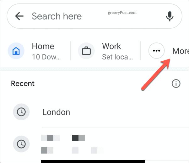 Google Maps mobile more addresses icon