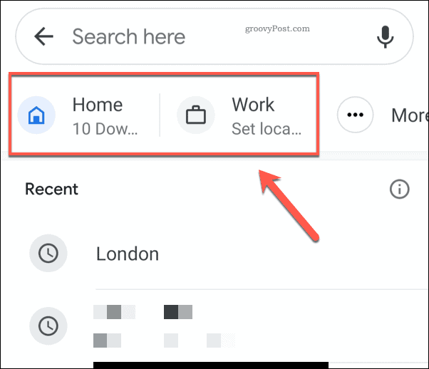 Google Maps Home and Work Addresses Icons